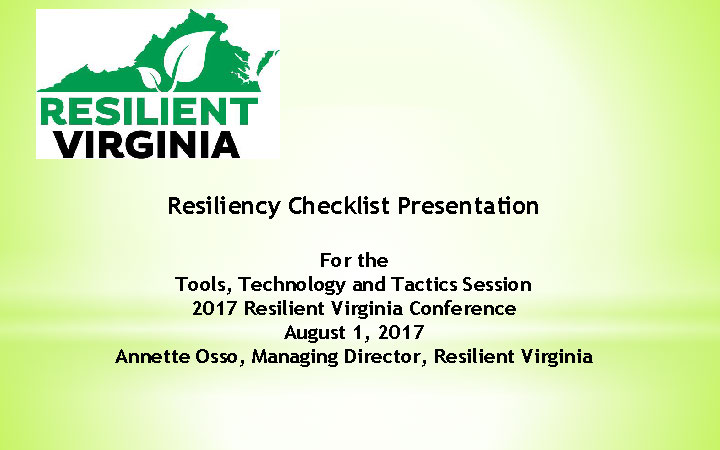 Click to launch Resiliency Checklist Presentation