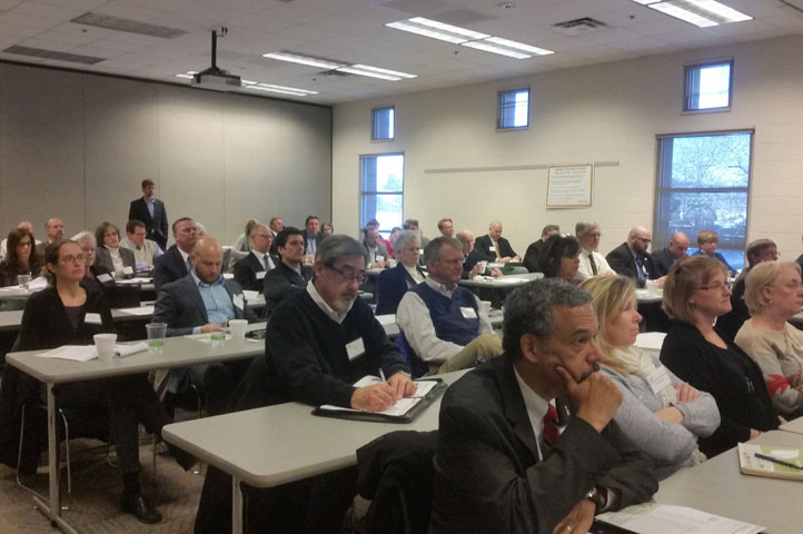 Attendees listen to presentations at the Resilient Virginia launch meeting.
