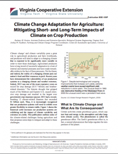 Climate Change Adaptation for Agriculture