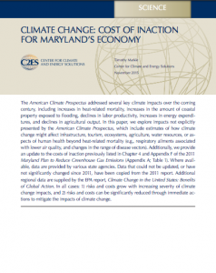 Climate Change: Cost of Inaction for Maryland's Economy