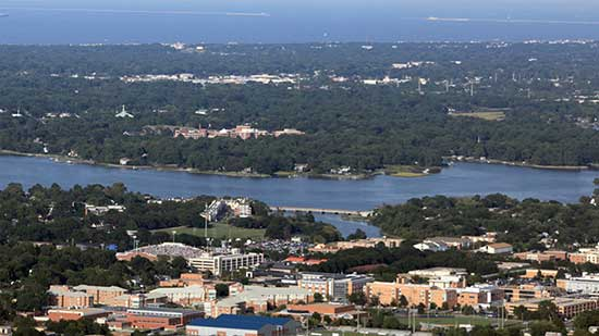 Aerial view of Old Dominion University near the James River. Courtesy of Clark Nexsen.
